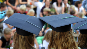 Students with graduation caps